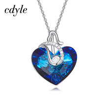 Cdyle Embellished with crystal Pendant AB Color Blue Heart Shaped Wedding Fashion Jewelry Sexy Lady Gift(China)