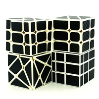 Lefun Magic Cube Gift Pack(4pcs/set,Including Mirror Block,Windmill,Fisher,Axis Cube)White Body With Black Carbon Fibre Sticker