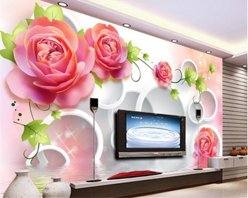 цена на beibehang Thick beautiful decorative wallpaper living room 3D rose pattern TV bedroom background wall papers home decor behang