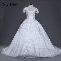 Nowy Boat Neck Krótkie Rękawy Sukienki Ślubne Trailing Biały Jakości Pociąg Suknie Ślubne Suknie Ślubne Vestidos De Novia IY035