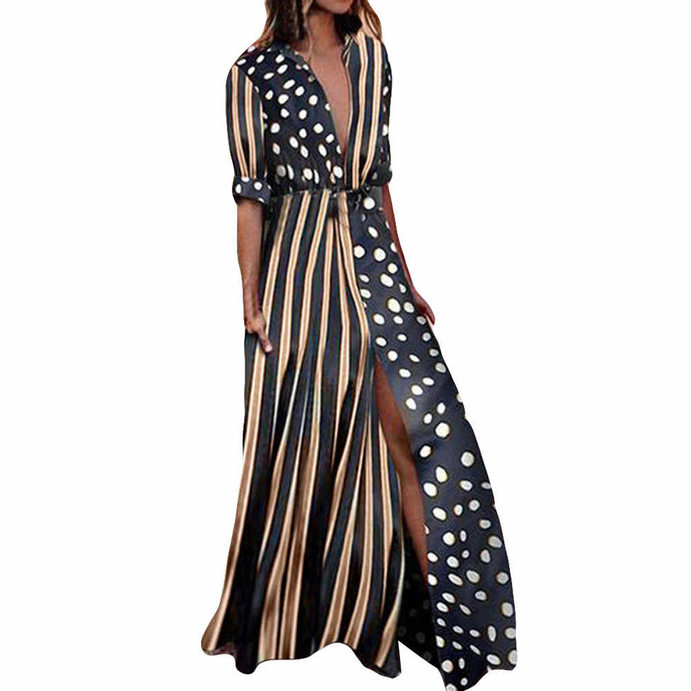 Summer Dress 2019 Sleeve Casual  Womens Boho Half Sleeve Wave Point Fashion Ladies Casual Evening Paty Long Dress vestidos #N05