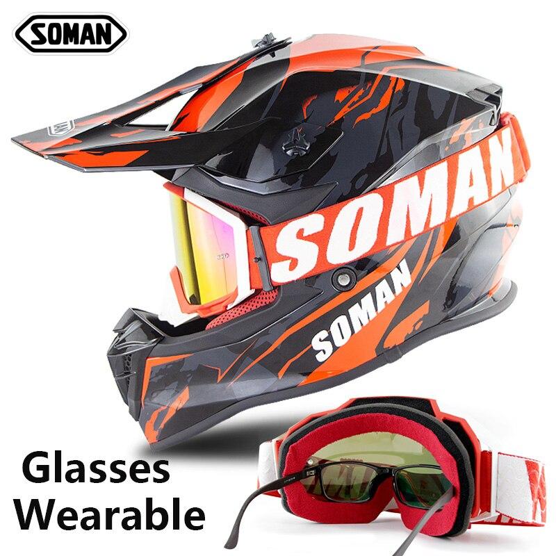 Soman Motocross Helm mit Dirt Bike Goggles Motorrad Racing Helm Professionelle Casco Motocross ECE Zustimmung SM633