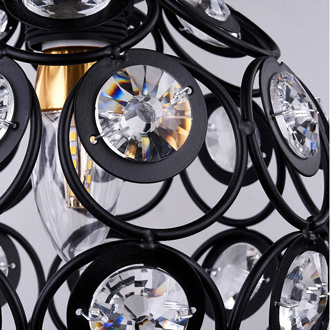 HTB1ahbMcSCWBuNjy0Fhq6z6EVXah E27 black Creative crystal minimalist ceiling light Single wall ceiling lamp bedroom lamp Single European iron lamp Crystal la