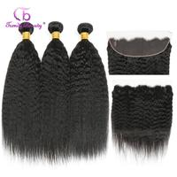 Kinky Straight Brazilian Hair Bundles With Frontal Human Hair 3 Bundles With 13x4 Ear to Ear Frontal Closure Non remy Free ship