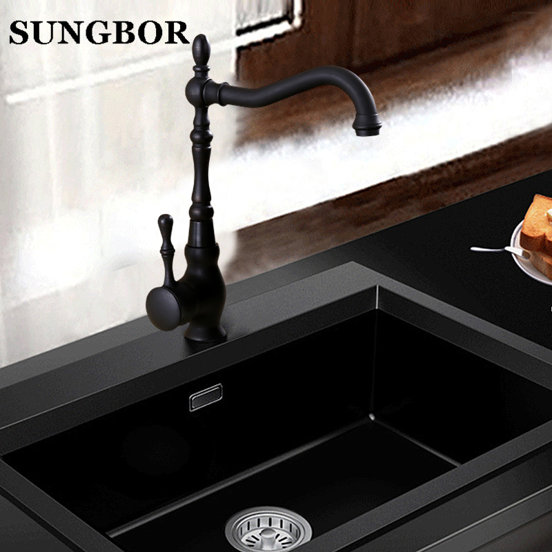 Retro Style Oil Rubbed Black Bronze Swivel Single Handle Bathroom Basin Kitchen Deck Mounted Sink Mixer Tap Faucet new design pull out faucet black bronze swivel singe handle bathroom basin kitchen deck mounted sink mixer tap faucet