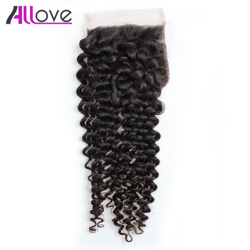 Allove Hair Brazilian Curly Lace Closure 100 Human Hair 4 4 Middle Part Kinky Curly Lace