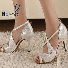 HXYOO Profesional Mujeres salón de Baile Latino Zapatos de la Danza Blanca Señoras del Satén Fiesta de Salsa Zapatos de Baile GM002