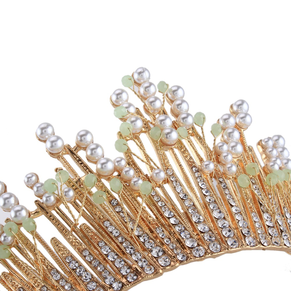 Gold Color Large Vintage Crystal Bridal Tiaras Crowns Rhinestone Pageant Bride  Hair Accessories Pearl Beads Wedding Crown-in Hair Jewelry from Jewelry ... 3b931e05e3b3