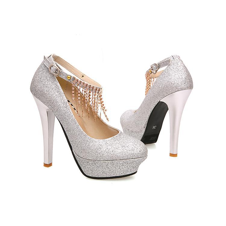 440ddaeede2 Closed Toe Silver Glitter Heels Rhinestone Elegant Wedding Shoes Three  Colors Red Gold 4 Inch Stiletto Pumps-in Women s Pumps from Shoes on  Aliexpress.com ...