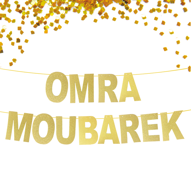 Glitter Gold Banner Omra Moubarek, Ramadan mubarak banner, Eid Mubarak Decorations, Muslim Festival New Year Decoration