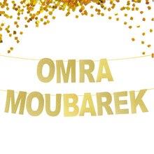נצנצים זהב באנר Omra Moubarek, הרמדאן מובארק באנר, קישוטי עיד מובארק, מוסלמי פסטיבל השנה החדשה קישוט