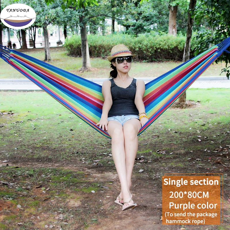 High Strength Portable Hammock 200*80cm Backpacking Hiking Woven Cotton Fabric Purple&Pink Striped Camping Outdoor Furniture