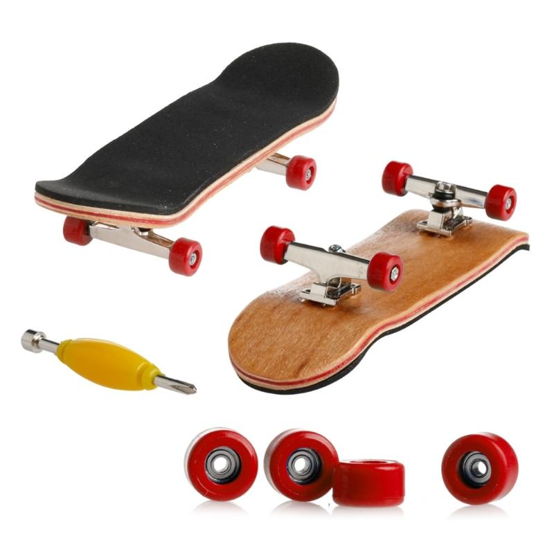 1 Набор деревянный скейтборд с коробкой, Детская колода, спортивная игра, подарок клен, новинка, пальчиковая игрушка для взрослых детей, 6 цветов - Цвет: Красный