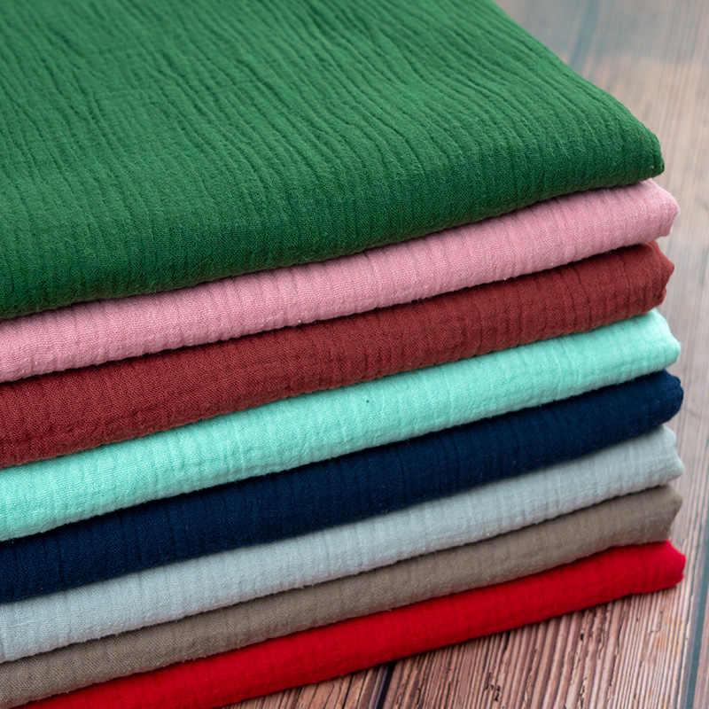 ダブルコットンリネン生地ソフトベビー布ドレス竹クレープスラブファッション服 diy の縫製クラフト素材 130*50 センチ