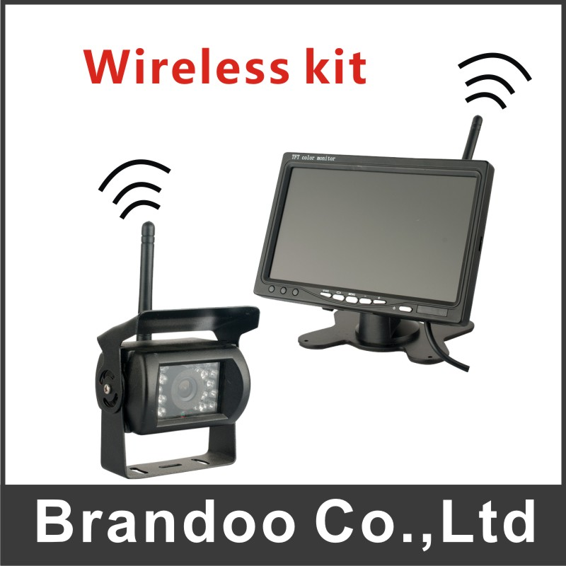 7 Inch Large TFT LCD Monitor Wireless Video Transmit Car Rear View Backup Reverse System +LED Night Vision Camera Kit