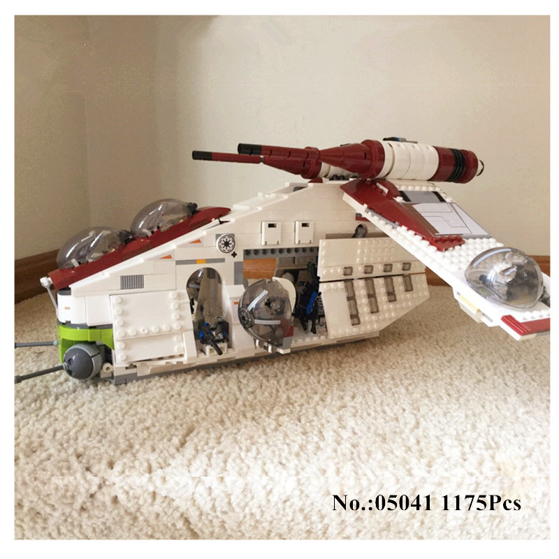 H&HXY 05041 Star 1175Pcs Series Wars Genuine The The Republic Gunship Set Educational Building Blocks Bricks lepin Toys 75021 new 5041 star wars series the the republic gunship building blocks bricks toys compatible with legoingly children model starwars
