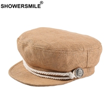 SHOWERSMILE Womens Summer Newsboy Cap Straw Duckbill Ivy Hat Camel Breathable Ladies Military British Style Female Flat