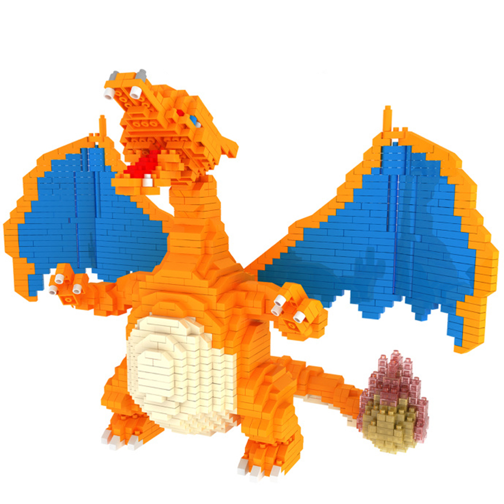 Rikuzo Big Action Figures Pikachu Charizard Squirtle Building Blocks legoely lepin Anime Doll Xmas Birthday Toys for Children 12pcs set children kids toys gift mini figures toys little pet animal cat dog lps action figures