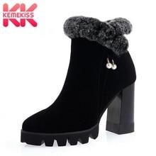 KemeKiss женские ботильоны из натуральной кожи с Плюшевым Мехом Женские зимние сапоги бусинами полусапожки модная обувь обувь; размеры 34–40