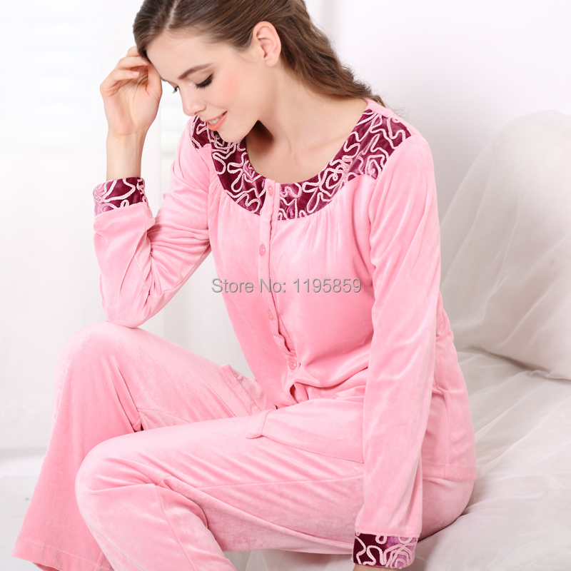 be2b3cc71e autumn and winter female Full sleeved cotton velvet pajamas suit of velvet night  suit for women sleeping clothes-in Pajama Sets from Underwear & Sleepwears  ...