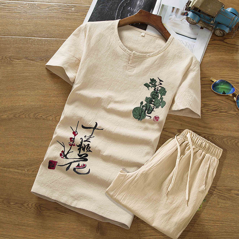 2019 Summer Linen Set Cotton Men T-shirt Slim Short-sleeved Solid Color Casual Shorts M-5XL Men's Printing Clothing 2 Pieces Set
