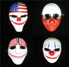 Wholesale Dallas/Wolf/Chains/Hoxton Horror Chainsaw Clown Masquerade Mask 4pcs Halloween Cosplay Payday 2 Mask браслет hoxton