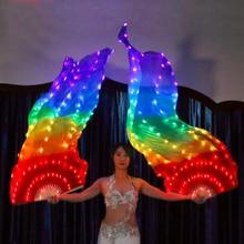 Новинка 2019, шелковые веерные вуали для танца живота, яркие радужные реквизиты для выступлений, светодиодная Веерная вуаль для восточных танцев