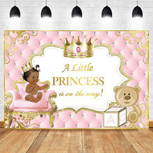 Pink and Gold Baby Shower Backdrop Ethnic Princess Tufted Photo Background Gold Crown Cute Bear Glitter Photography Backdrops(China)