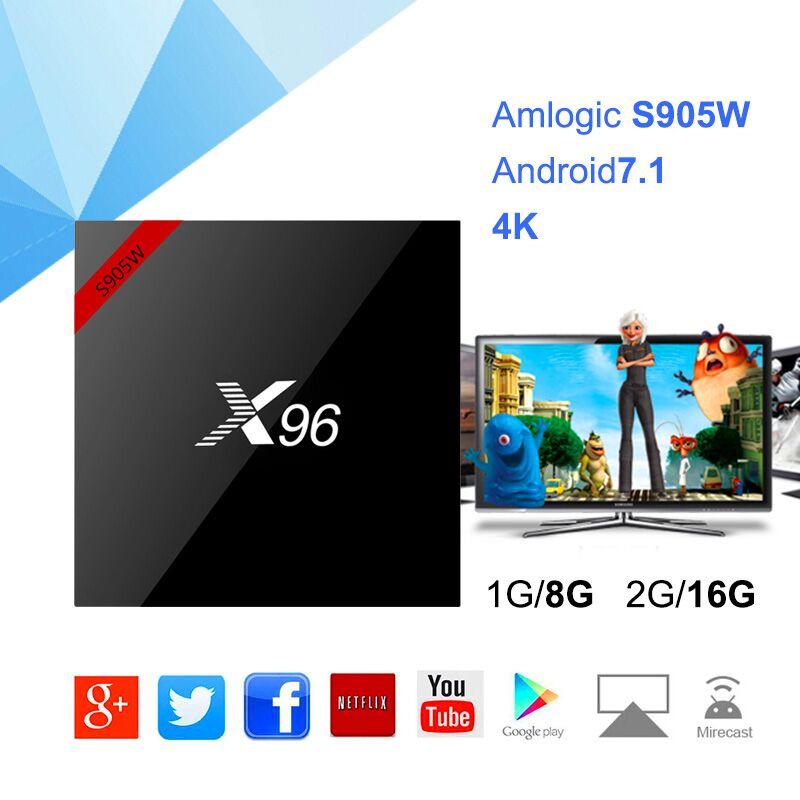 X96W Amlogic S905W D'origine Android 7.1 Smart TV BOX HD2.0 4 k * 2 k 2.4 ghz WIFI 2G16GB Ensemble top box Media Player pk x96MIINI