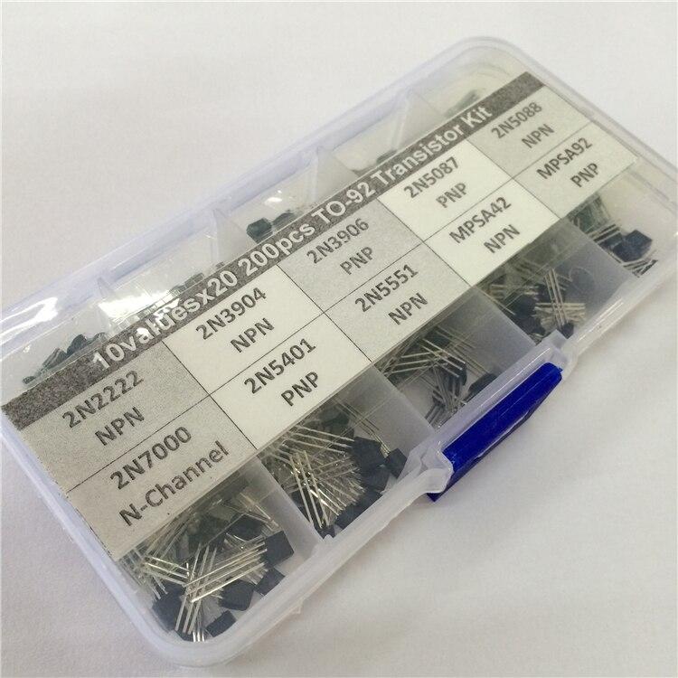 10Values x20 200pcs TO-92 Transistor Assortment Assorted Kit 2N2222 2N3904 2N3906 2N5087 2N5088 2N7000 MPSA42 MPSA92 etc