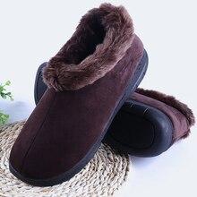 Mens Winter Shoes Wedges Plus Size 45-46 Flock Warm Ankle Boots For Men Short Plush Rubber Man Solid
