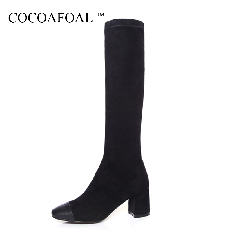 COCOAFOAL Women Zipper Genuine Leather Knee High Boots Winter Black High Heeled Shoes Plus Size 33 Sexy Chelsea Knee High Boots