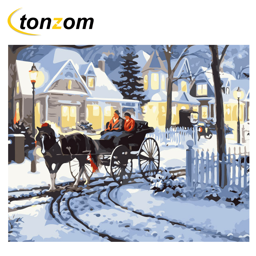 RIHE Carriage Diy Painting By Number Snow Street Oil On Canvas Hand Painted Cuadros Decoracion Acrylic Paint Home Art