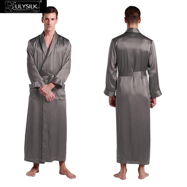 Robes De Seda Para Homens de 22 Momme Lilysilk Longo Roupão De Banho Roupão de Inverno Cuidados Com A Pele Sensível de Luxo Cinza Escuro Masculino Tradicional