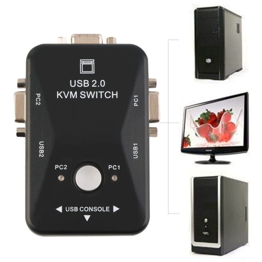 2 Ports USB 2.0 VGA/SVGA KVM Switch Box for Sharing Monitor Keyboard Mouse Newest