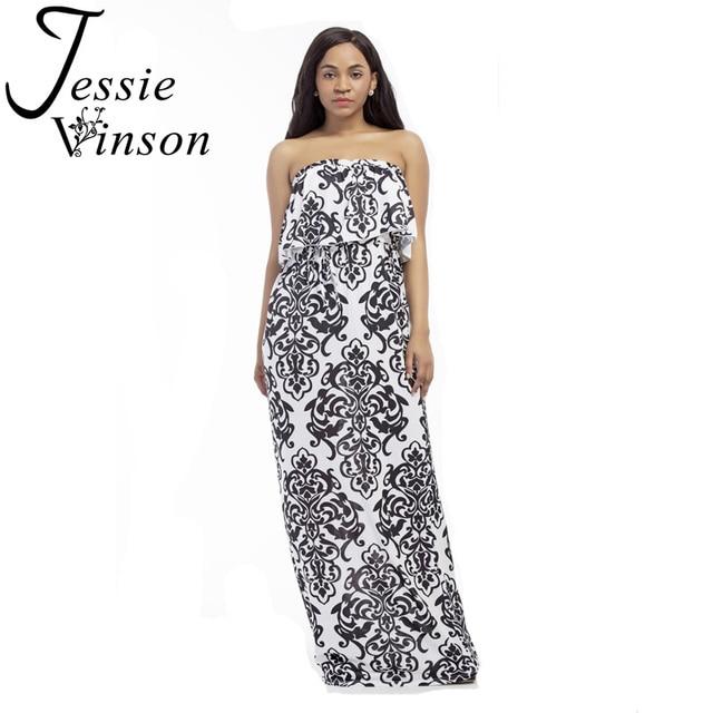 Jessie Vinson Vintage Women National Style Print Strapless Maxi