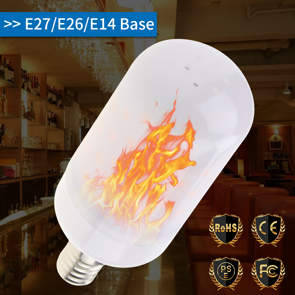 E27 LED Flame Effect Bulb E26 2835 Fire Lamp E14 LED Creative Lights Flickering Emulation Atmosphere Decorative Lamp AC85-265V