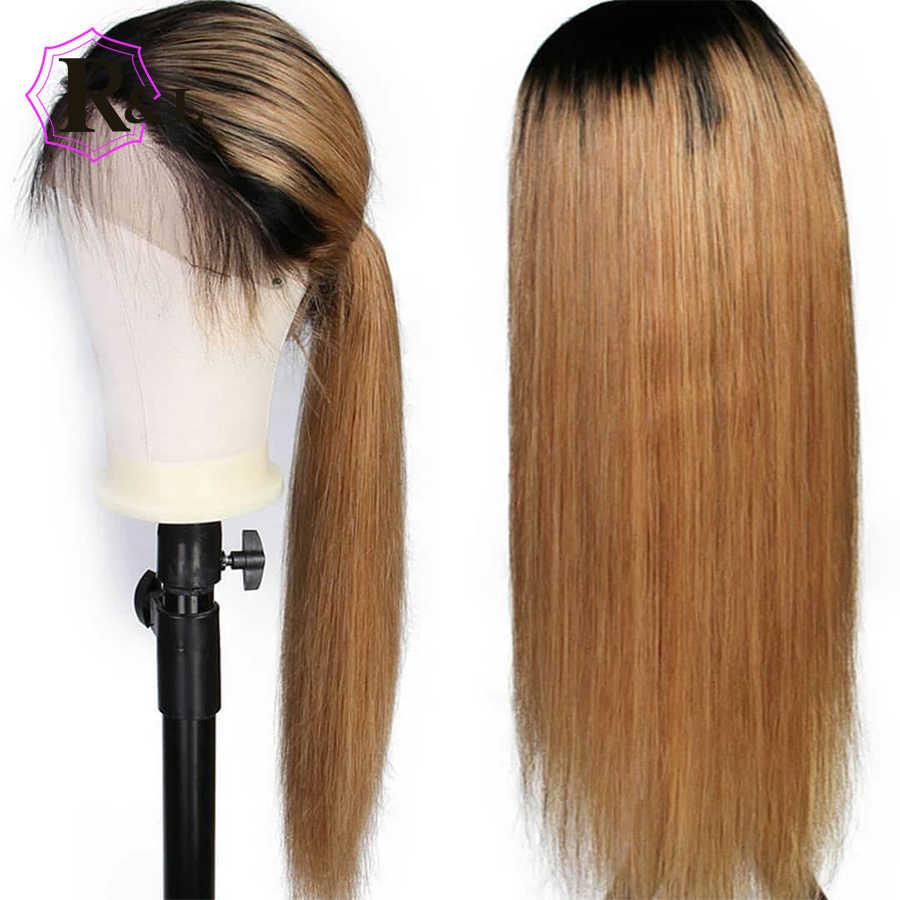 RULINDA 1B/27 Ombre Цвет фронта шнурка человеческих волос парики с волосами младенца 13*4 прямые бразильские волосы remy парик шнурка Бесплатная часть