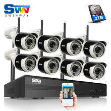Plug And Play 8CH Wireless NVR CCTV Kit P2P 1280X960P HD Outdoor+Indoor Waterproof Night-Vsion IR Security Camera System 2TB HDD
