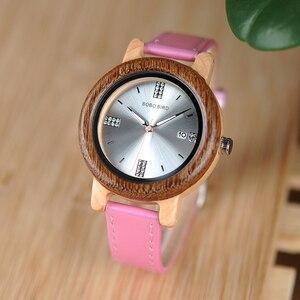 Image 2 - בובו ציפור מותג נשים עץ שעון 37mm עץ PU רצועת שעוני יד נקבה שעונים ליידי קוורץ שעון relogio feminino C P29