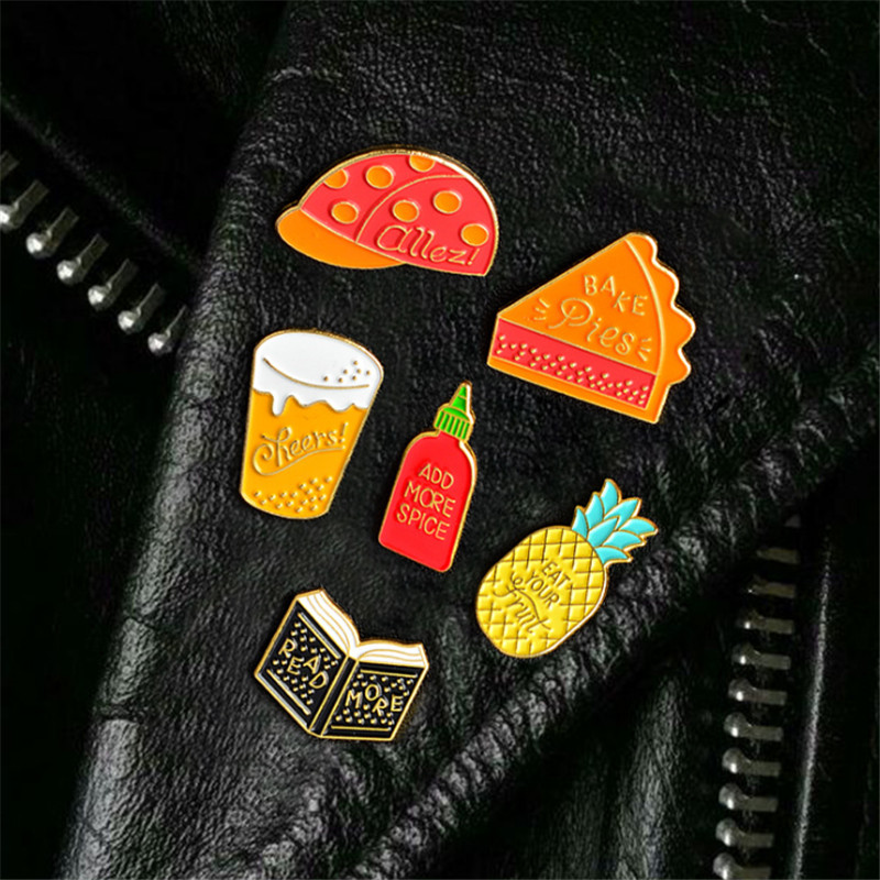Gold Color Alloy Book Cup Hat Cake Pineapple Enamel Pins Brooches For Women And Men Childrens Clothing Badge Corsage Jewelry
