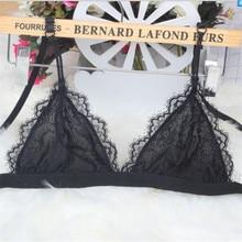 купить String Thin Lace Bralette Sexy Bras Women See-through Wire Free Push Up Bra Triangle Bralette Women Lingerie Korean Style White по цене 519.59 рублей