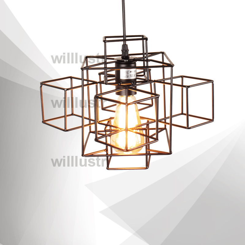 Willlustr metal abstract geometry PENDANT LIGHT industry loft Edison Bulb hanging lighting American country suspension lamp