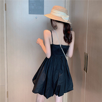 Women Summer Dress 2019 New French Retro Dress For Women Slim Fold Solid Color Sling Backless Sexy Evening Party Dresses