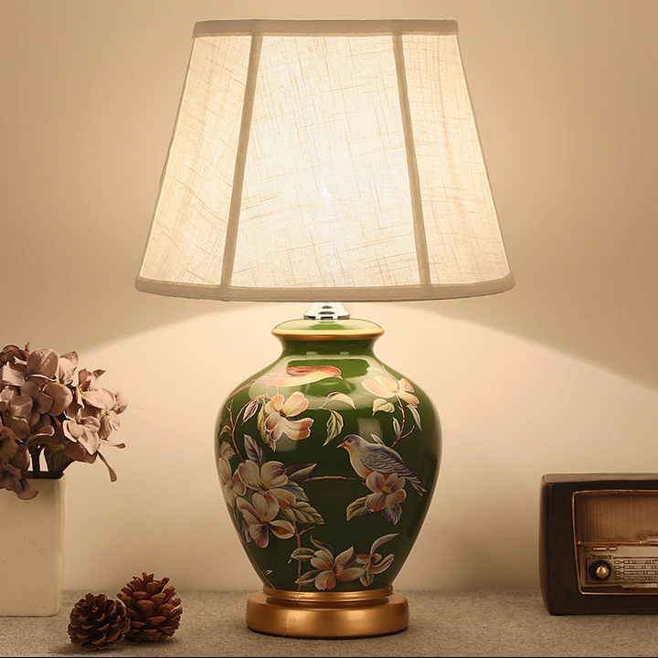 chinese rural green ceramic art table lamps modern fashion linen shade e27 led lamp for