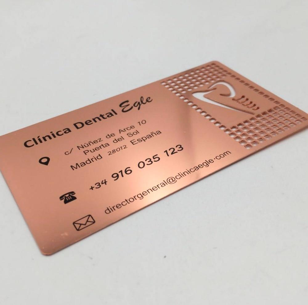 Купить с кэшбэком (200pcs/lot)wholesale high quality customized rose gold plated stainless steel metal mirror business card