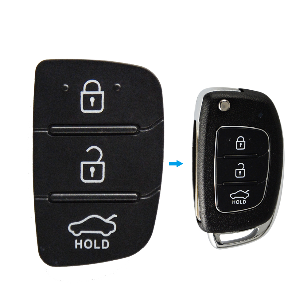 OkeyTech Soft Replacement Key Pad 3 4 Buttons Flip Car Remote Key Shell For Hyundai HB20 SANTA FE IX35 IX45 Key Case Cover