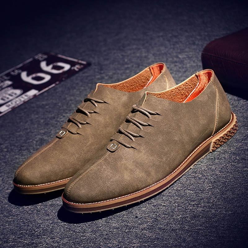 ФОТО 2017 New Arriva Men Casual Shoes Italian Shoes Man Flats Shoes Fashion Suede Anti Slip Lace-Up Oxford Moccasins Plus Size Shoes