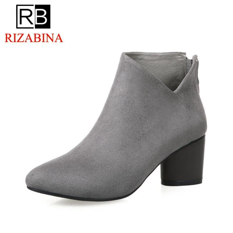RizaBina Женские ботильоны на высоком каблуке, Размер 32–43 на осень-зиму теплые для отдыха в британском стиле Ботинки martin женские качественные ...
