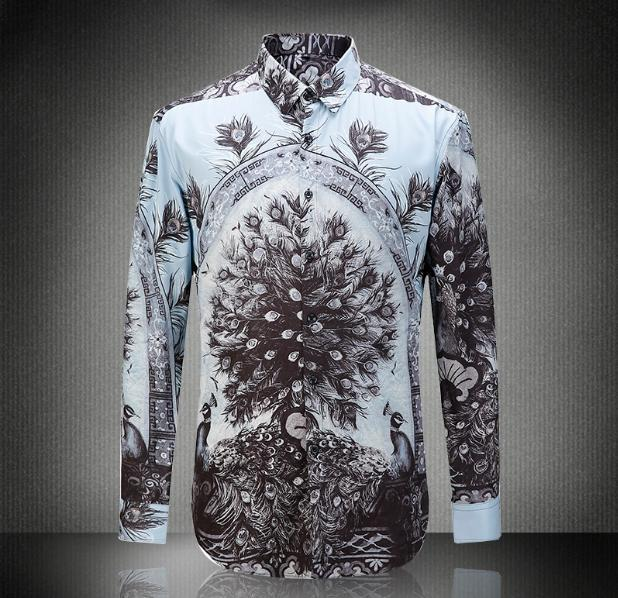 Европа и соединенные Штаты мужская новых осенью 2016 Цифровой павлиньи перья хлопок футболки печатных воспитать в себе мораль